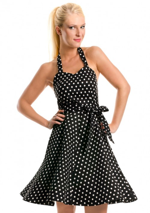Rockabilly Polka-Dot-Kleid in Schwarz - bei VIP Dress günstig kaufen