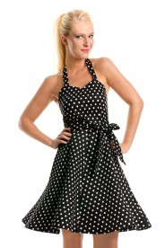 Rockabilly Polka-Dot-Kleid in Schwarz
