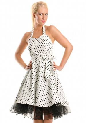 Weißes Rockabilly Polka-Dot-Kleid im Vintage-Style - <br /> <b>Notice</b>:  Undefined index: altTail in <b>/home/vipdress/public_html/tools/smarty/compile/3a21d04bf1b909ed03be781795539a91ac65494e.file.product.tpl.php</b> on line <b>264</b><br />
