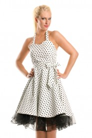 Weißes Rockabilly Polka-Dot-Kleid im Vintage-Style