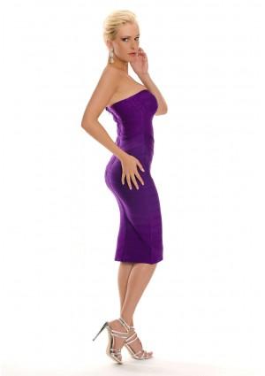 Lila Bandagekleid im schulterfreien Design - bei vipdress.de günstig shoppen