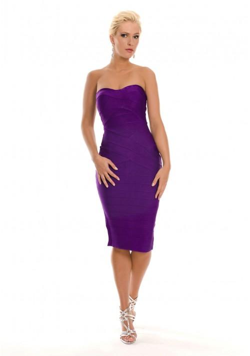 Lila Bandagekleid im schulterfreien Design - hier günstig online bestellen