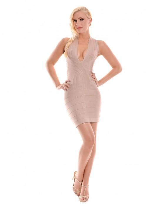 Bandagekleid in Beige mit Seitenausschnitt - günstig bestellen bei VIP Dress