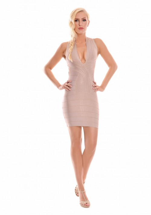 Bandagekleid in Beige mit Seitenausschnitt - günstig bei VIP Dress