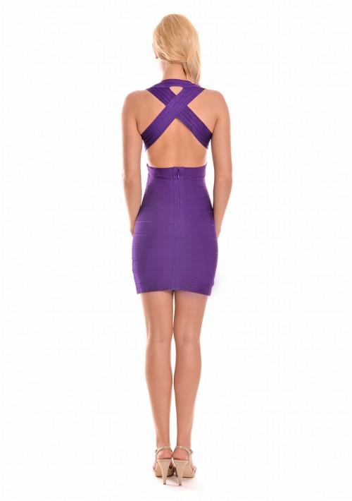 Lila Bandagekleid mit seitlichen Ausschnitten - günstig bei VIP Dress