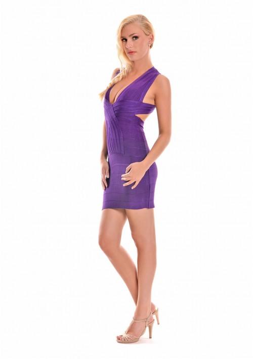 Lila Bandagekleid mit seitlichen Ausschnitten - schnell und günstig bei VIP Dress