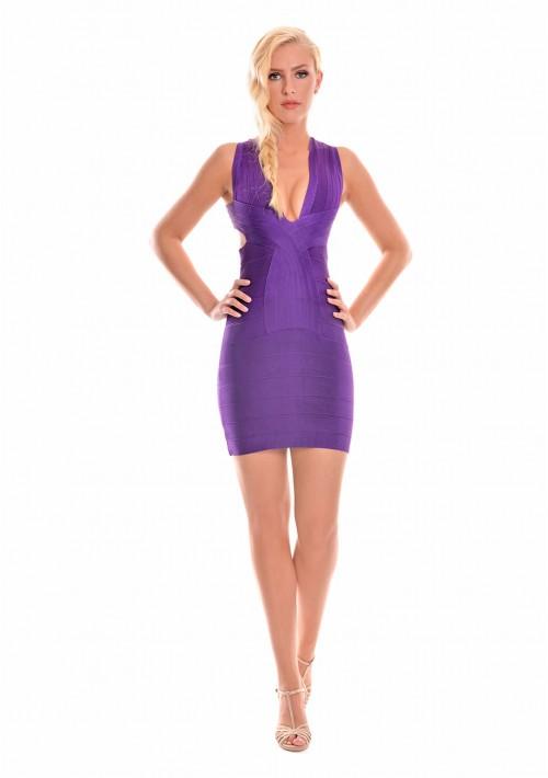Lila Bandagekleid mit seitlichen Ausschnitten - bei VIP Dress günstig kaufen