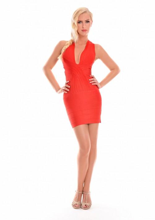 Bandagekleid in Rot mit stylischer Linienführung - günstig kaufen bei vipdress.de