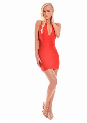 Bandagekleid in Rot mit stylischer Linienführung - bei VIP Dress günstig kaufen