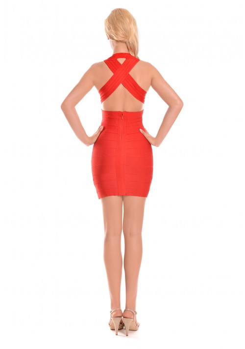 Bandagekleid in Rot mit stylischer Linienführung - bei vipdress.de günstig shoppen
