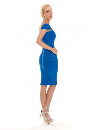 Blaues Bandagekleid mit dezenten Ärmeln - günstig bestellen bei VIP Dress