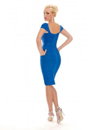 Blaues Bandagekleid mit dezenten Ärmeln - schnell und günstig bei VIP Dress