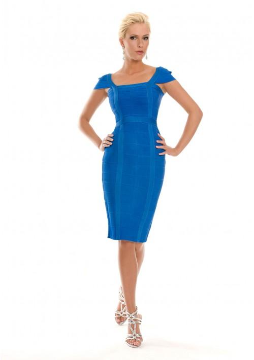 Blaues Bandagekleid mit dezenten Ärmeln - bei vipdress.de günstig shoppen
