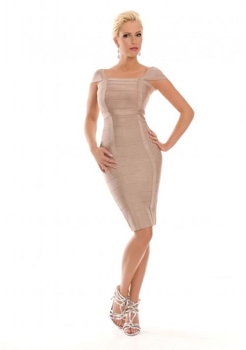 Bandagekleid in Beige mit eckigem Ausschnitt - bei VIP Dress günstig kaufen