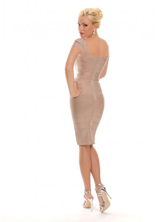 Bandagekleid in Beige mit eckigem Ausschnitt - bei vipdress.de günstig shoppen