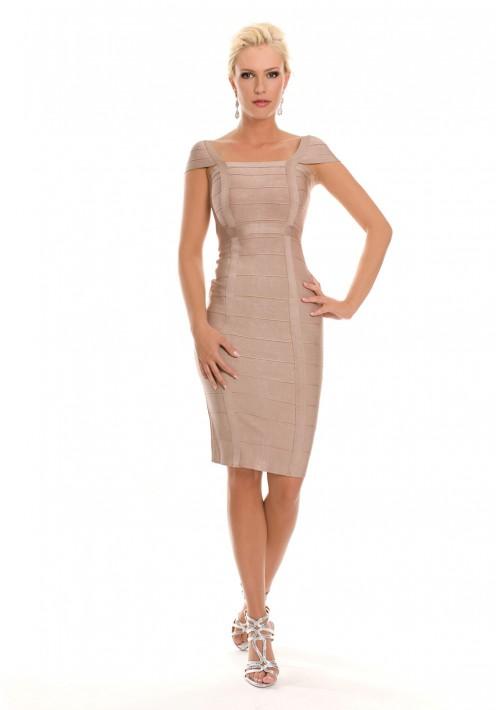 Bandagekleid in Beige mit eckigem Ausschnitt - bei VIP Dress online bestellen