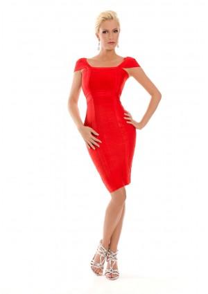 Rotes Bandagekleid mit Ärmeln und Zierbandage -