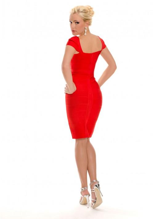 Rotes Bandagekleid mit Ärmeln und Zierbandage - günstig bei VIP Dress