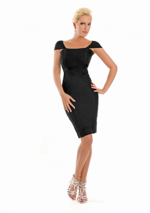 Bandagekleid in Schwarz mit vertikaler Zierbandage - bei vipdress.de günstig shoppen