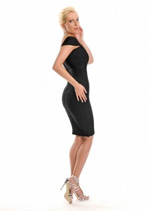 Bandagekleid in Schwarz mit vertikaler Zierbandage - günstig bei VIP Dress