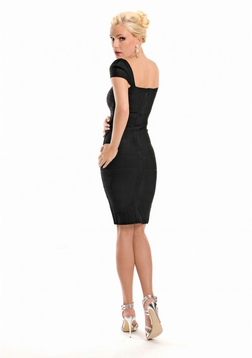 Bandagekleid in Schwarz mit vertikaler Zierbandage - günstig bestellen bei VIP Dress