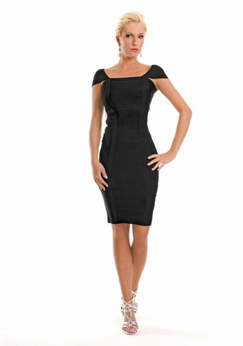 Bandagekleid in Schwarz mit vertikaler Zierbandage - bei VIP Dress günstig kaufen