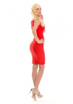 Bandagekleid in Rot mit Flechtoptik - schnell und günstig bei VIP Dress