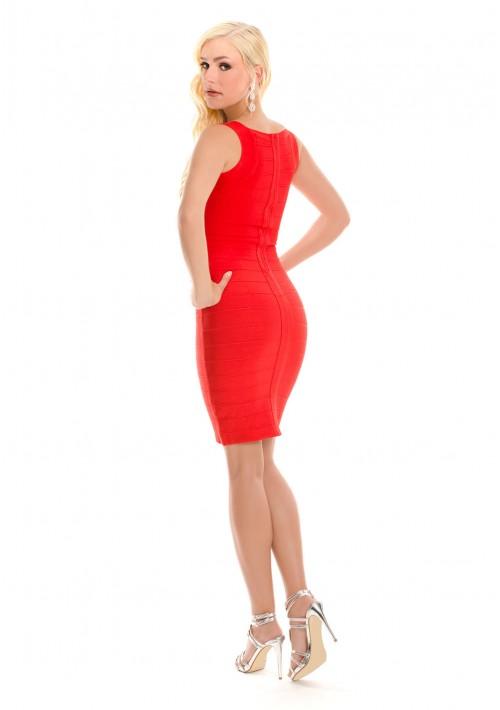 Bandagekleid in Rot mit Flechtoptik - günstig bestellen bei VIP Dress