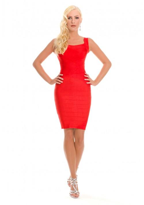 Bandagekleid in Rot mit Flechtoptik - bei vipdress.de günstig shoppen