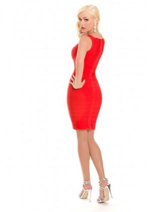 Bandagekleid in Rot mit Flechtoptik - günstig shoppen bei vipdress.de