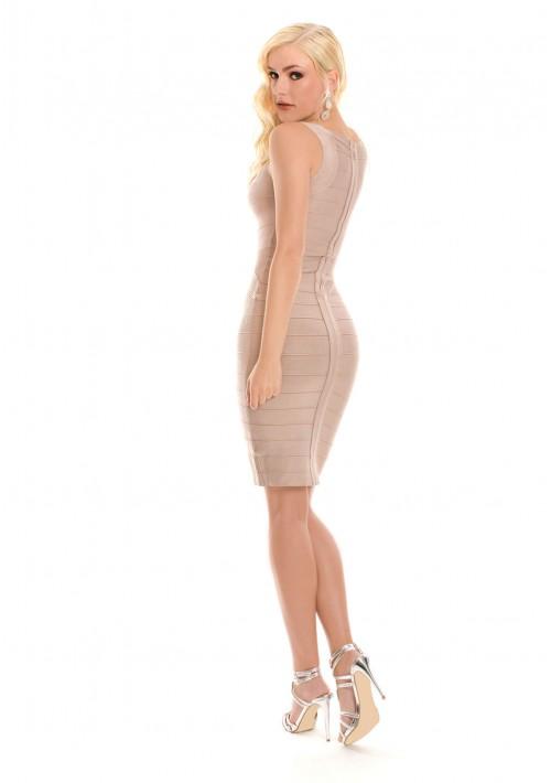 Bandagekleid in Beige für Business und Freizeit  - günstig bei VIP Dress