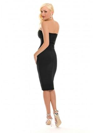 Schulterfreies Bandeau Bandagekleid in Schwarz - bei VIP Dress günstig kaufen