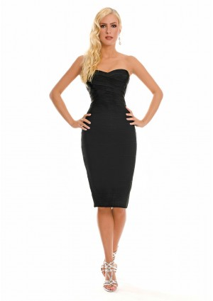 Schulterfreies Bandeau Bandagekleid in Schwarz - <br /> <b>Notice</b>:  Undefined index: altTail in <b>/home/vipdress/public_html/tools/smarty/compile/3a21d04bf1b909ed03be781795539a91ac65494e.file.product.tpl.php</b> on line <b>264</b><br />