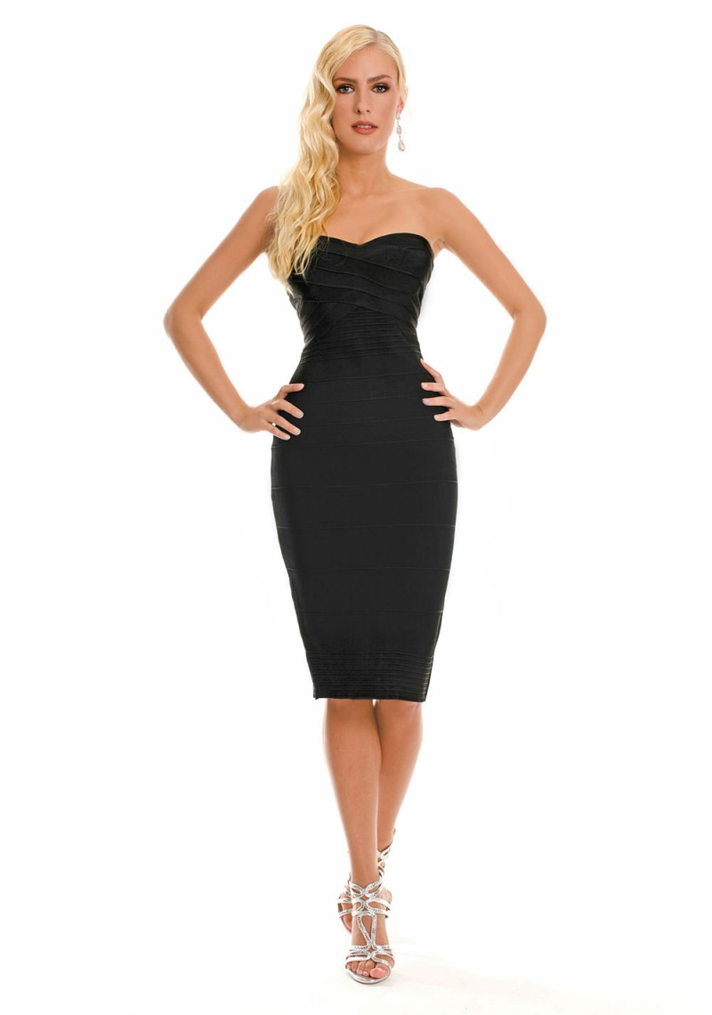 Wunderschönes schwarzes Bandeau Bodyconkleid | VIP Dress