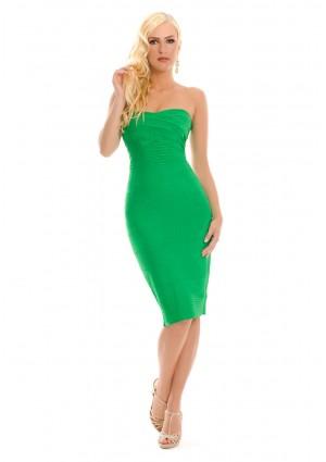 Bandeau Bodyconkleid in Grün mit schulterfreiem Schnitt - bei VIP Dress günstig kaufen