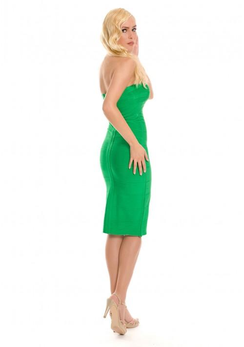 Bandeau Bodyconkleid in Grün mit schulterfreiem Schnitt - bei VIP Dress online bestellen