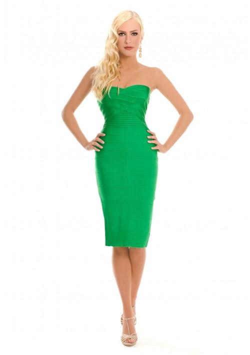 Bandeau Bodyconkleid in Grün mit schulterfreiem Schnitt - günstig kaufen bei vipdress.de