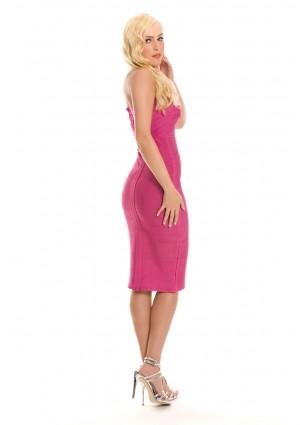 Bandeau Bandage Bodycon-Kleid in Pink - bei VIP Dress günstig kaufen