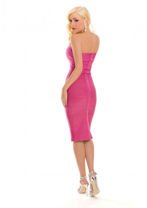 Bandeau Bandage Bodycon-Kleid in Pink - günstig bei VIP Dress