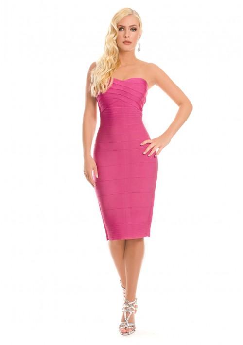 Bandeau Bandage Bodycon-Kleid in Pink - günstig bei VIP Dress