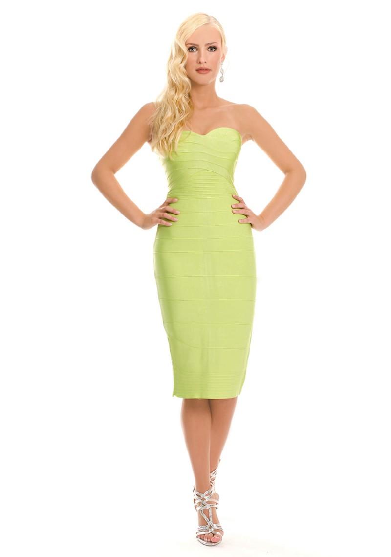 Schulterfreies Bandagekleid in Grün | VIP Dress