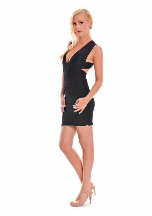 Bandagekleid in Schwarz mit aparter Nahtführung - hier günstig online bestellen