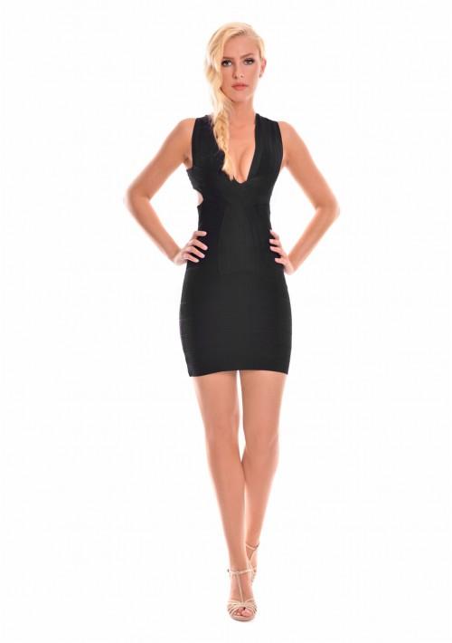 Bandagekleid in Schwarz mit aparter Nahtführung - günstig bei VIP Dress