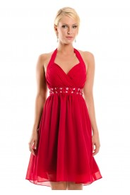 Rotes Cocktailkleid im Empirestil