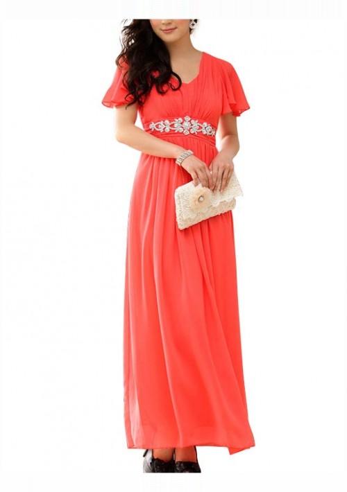 Rotes Abendkleid aus Chiffon mit kurzem Arm und Strass - günstig shoppen bei vipdress.de