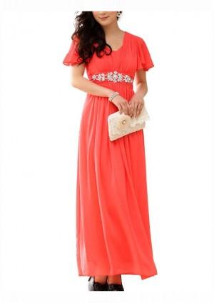 Rotes Abendkleid aus Chiffon mit kurzem Arm und Strass -