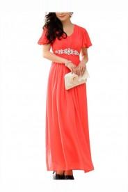 Rotes Abendkleid aus Chiffon mit kurzem Arm und Strass