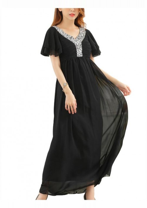 Schwarzes Abendkleid aus Chiffon mit kurzen Ärmeln - günstig bestellen bei VIP Dress