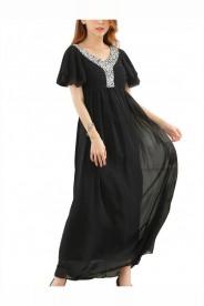 Schwarzes Abendkleid aus Chiffon mit kurzen Ärmeln