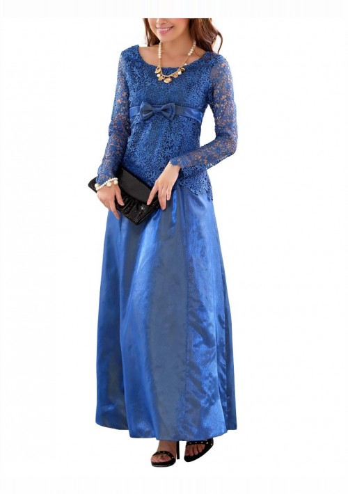 Blaues Abendkleid aus Satin mit Spitze - bei vipdress.de günstig shoppen